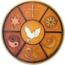 A circle featuring symbols of several religions surrounding a peace dove.