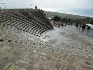 Ancient Roman theater with Mediterranean Sea in the background