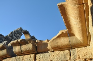 The restoration of  a corner ceiling molding in a early Byzantine period house at Umm el-Jimal, Jordan.