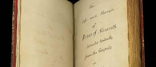 "handwritten page entitled ""The Life and Morals of Jesus of Nazareth"" in Jefferson's handwriting"