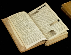 Bible with passages carefully cut out.