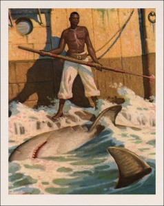 Queequeg standing in the water, spear in hand, next to a shark carcass
