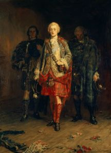 portrait of a pale man in a kilt wearing a powdered wig