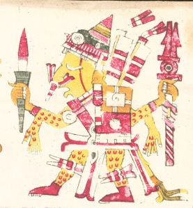 16th century Aztec illustration depicting a god wearing a human skin.