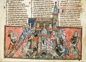 Medieval manuscript image showing crusaders attacking a castle.