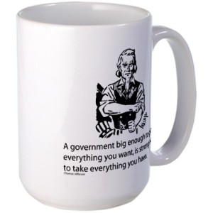 Coffee mug featuring the quote incorrectly attributed to Jefferson.