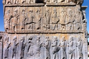 Stone carving depicting Persian warriors in the Greco-Persian war.
