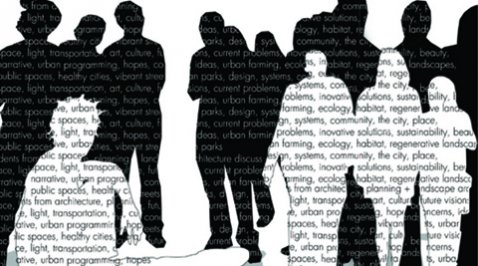 Silhouettes of group of people made up of text