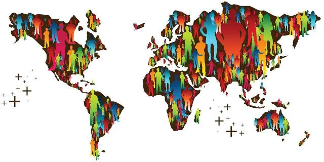 World map with silhouettes of people on each continent