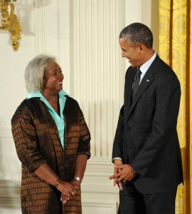 Darlene Clark Hine with President Obama at the 2013 National Humanities Medals award ceremony.