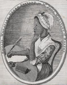 Image of a young African-American woman writing with a quill