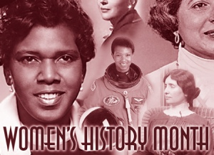 "Images of historic women with the title ""Women's History Month"""
