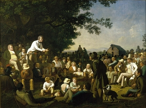 Painting of a politician speaking to a crowd