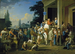 Painting depicting a politician speaking to a crowd of men, many drunk or distracted, in a small town.