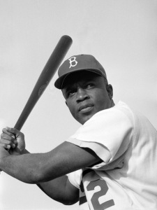 Jackie Robinson batting for the Brooklyn Dodgers, 1954