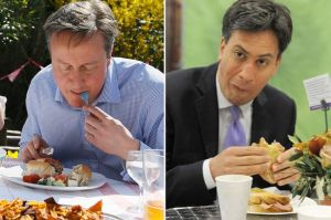 Left image shows a man eating a hotdog with a fork; right image shows a different man eating a sandwich and grimacing.