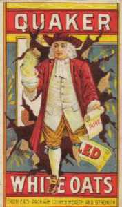 "Quaker Oats ad featuring a kindly looking colonial man holding a scroll that says ""pure."""