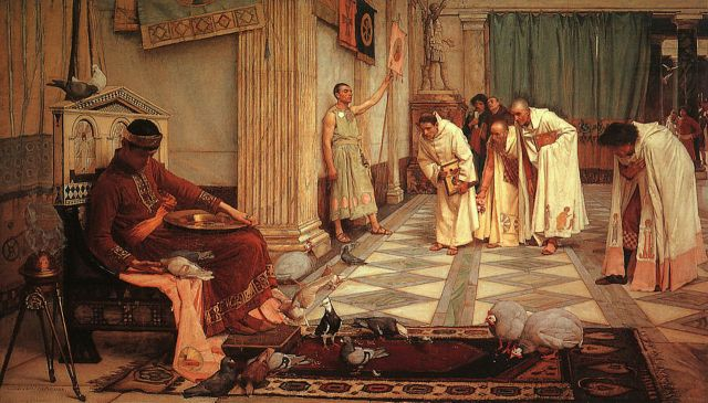 Painting depicting Emperor Honorius on his throne with a group of men in togas bowing nearby