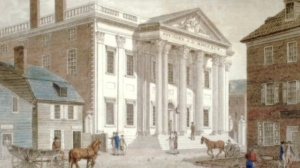 drawing of the bank in Philadelphia