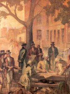 painting depicting stockbrokers meeting under a tree