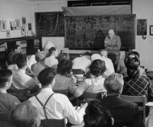 black and white vintage photo of students in classroom.