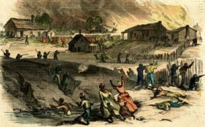 artist depiction of buildings burning and lynchings