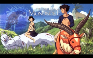 Title art of Princess Mononoke film featuring girl on a white wolf and prince on an ox.