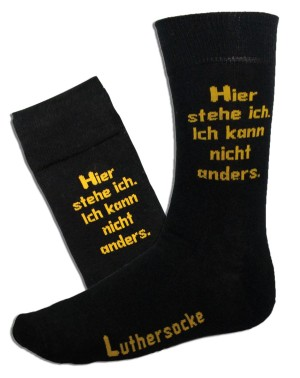 "Luther socks: ""Hier stehe ich: Ich kann nicht anders"" (""Here I stand: I can do no other"")"