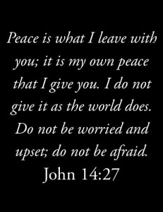 peace is what i leave with you; it is my own peace that i give you. i do not give it as the world does. do not be worried and upset; do not be afraid. (John 14:27)