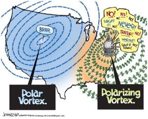"Political cartoon with a map of America, one side that says ""brrr"" labeled as ""Polar Vortex"" and the other side pointing to Washington DC with ""Polarizing Vortex"""