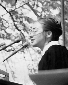 Young Hillary Rodham speaking at commencement in 1969.