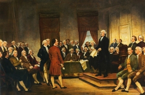 Painting depicting the signing of the US constitution