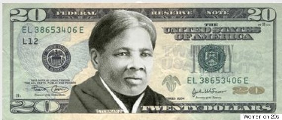 A mockup of Harriet Tubman on the $20 bill. Image source: womenon20s.org