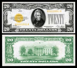 $20 Gold Certificate, Series 1928, depicting Andrew Jackson, with signatures of Woods (Treasurer of the United States) and Mellon (Secretary of the Treasury). Source: Wikipedia Commons.