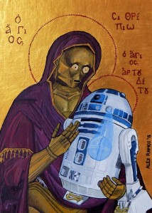 Icon style painting depicting the droids C-3P0 and R2-D2.