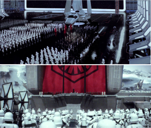 Comparison image of gathering of stormtroopers in Return of the Jedi vs The Force Awakens.