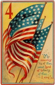 "American flag with the text ""My country tis of thee, sweet land of liberty, of thee I sing."""