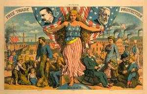 "1884 election propaganda with ""Free trade"" on the left and ""Protection"" on the right. Lady liberty stands in the middle with the caption ""which?"""