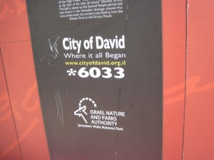 "Sign labeling the City of David, ""where it all began"""
