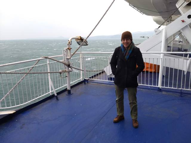 Post author Kate van Liere on the ferry to Belfast.
