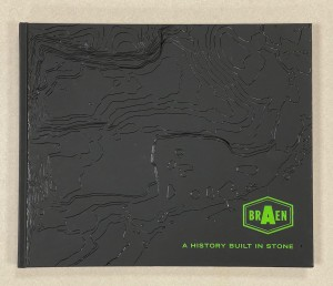 "Black book cover with the title ""Braen: A History Built in Stone"""