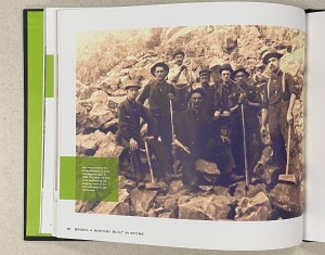 A page from the book, with a black and white image showing a group of miners in the stone quarry.