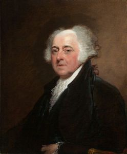 Oil portrait of John Adams, showing a balding man in black robes.